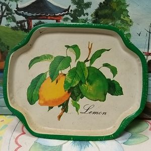 Vintage tin tray hand painted Lemon painting